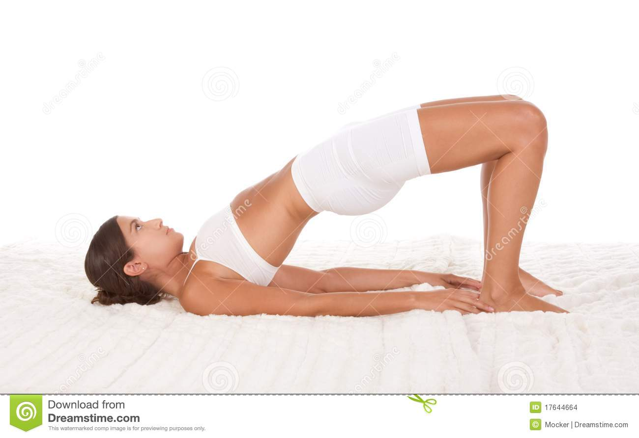 Yoga pose female in sport clothes doing exercise
