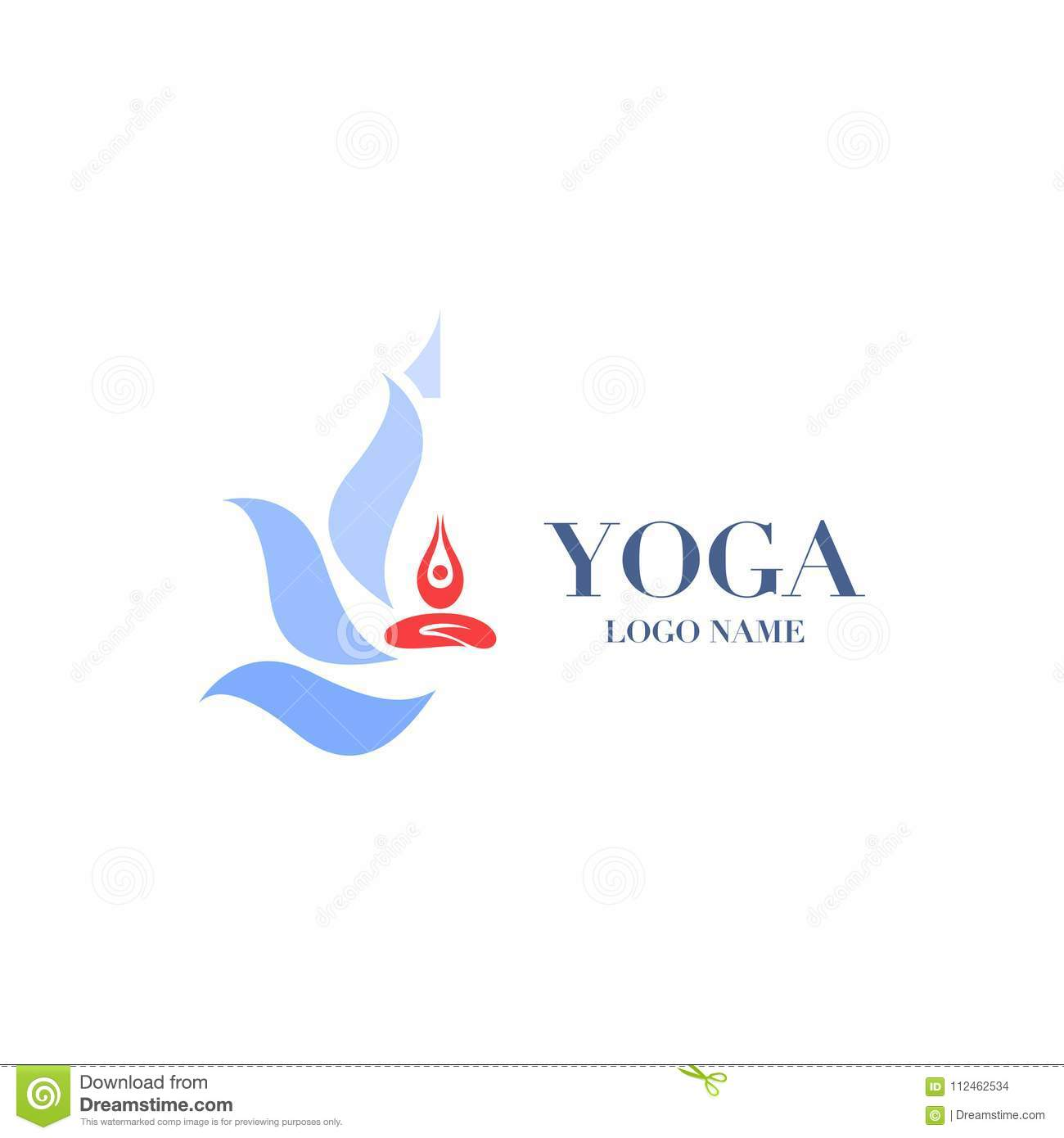 Yoga Pose With Lotus Flower On The Background Logo Icon Abstrac
