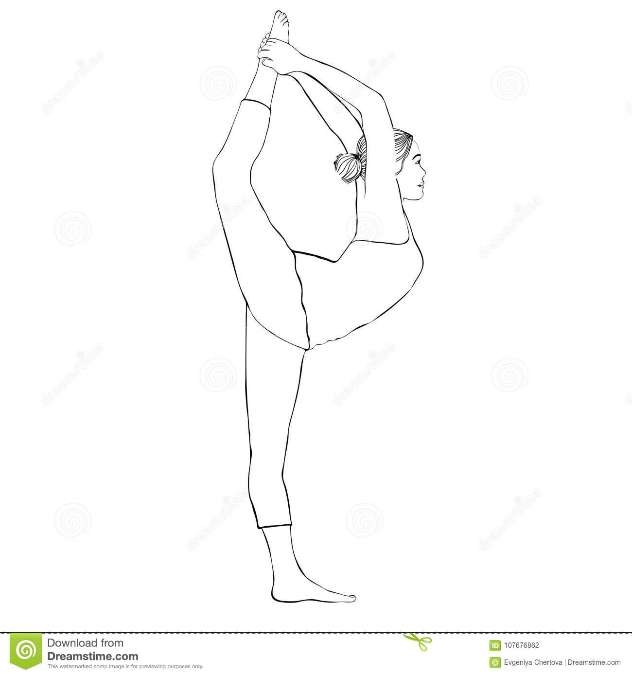 Yoga Pose Woman Doing Stretching Legs Leg Split Vector Coloring Drawing Portrait Cartoon Girl Is Engaged In Stock Vector Illustration Of Isolated Monochrome 107676862