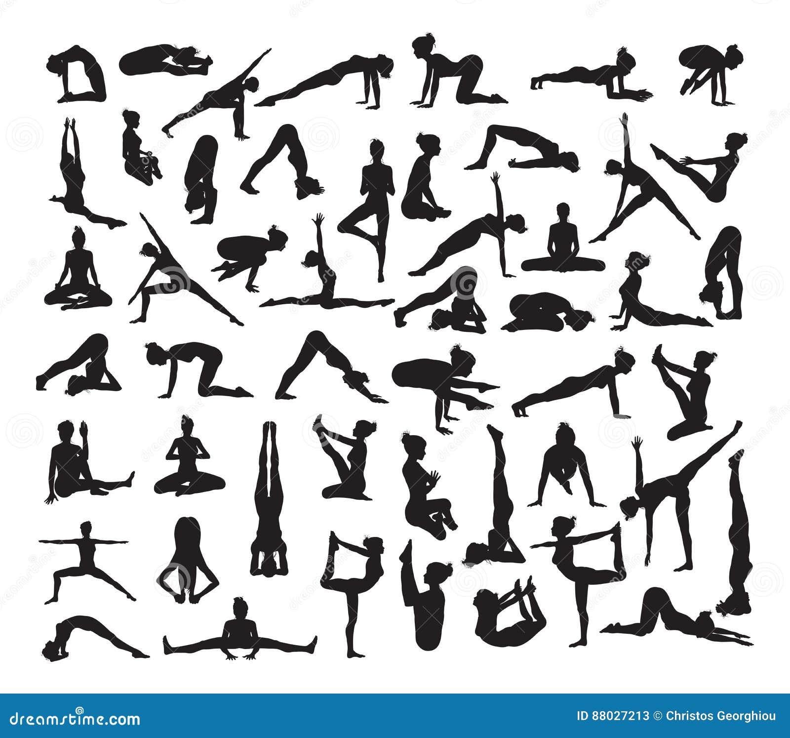 Yoga poserar Silhouettes