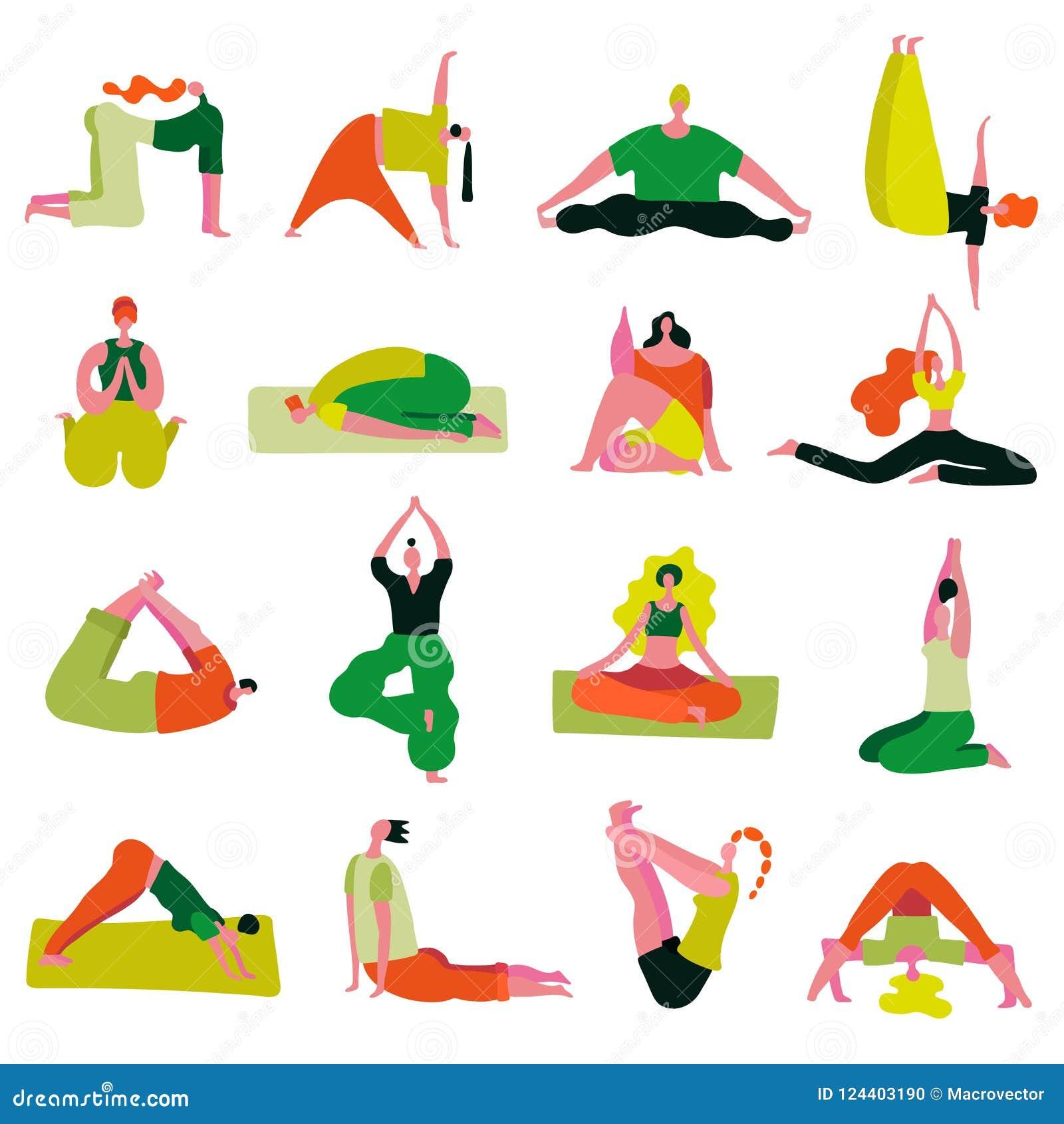 Download Yoga Poses Asanas Set Stock Vector Illustration Of Beginner