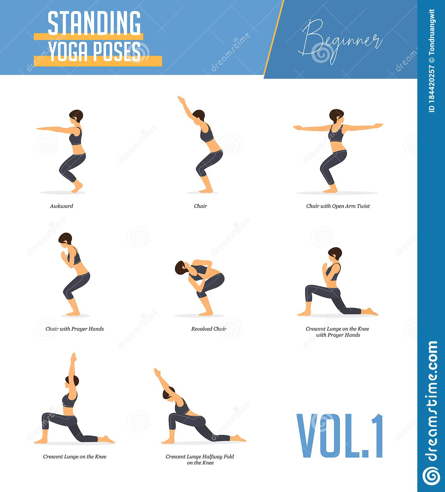 Yoga Poses for Concept of Balancing and Standing Poses in Flat ...