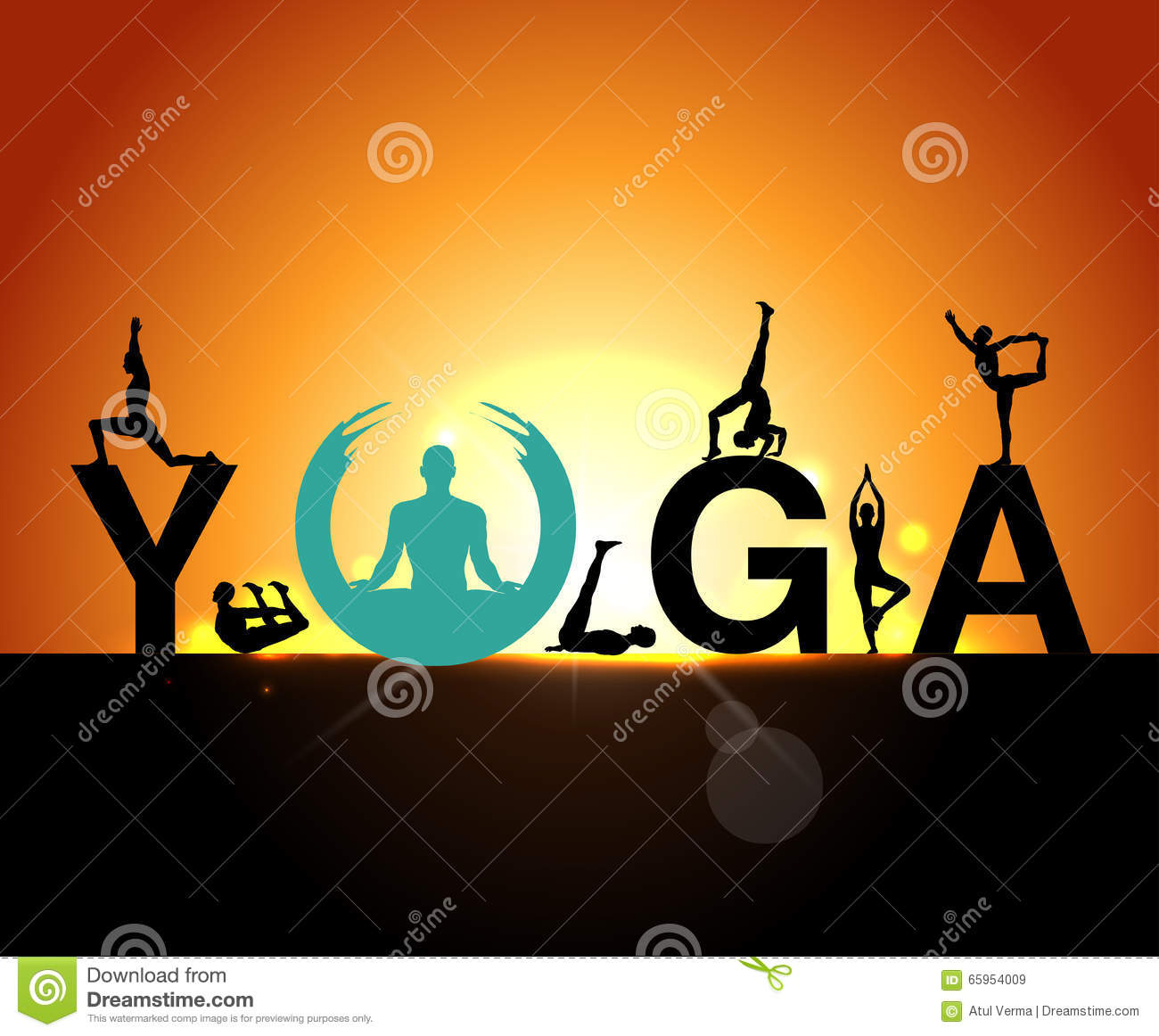 Download Yoga Poses Early Morning Exercise World Day Poster Stock Vector
