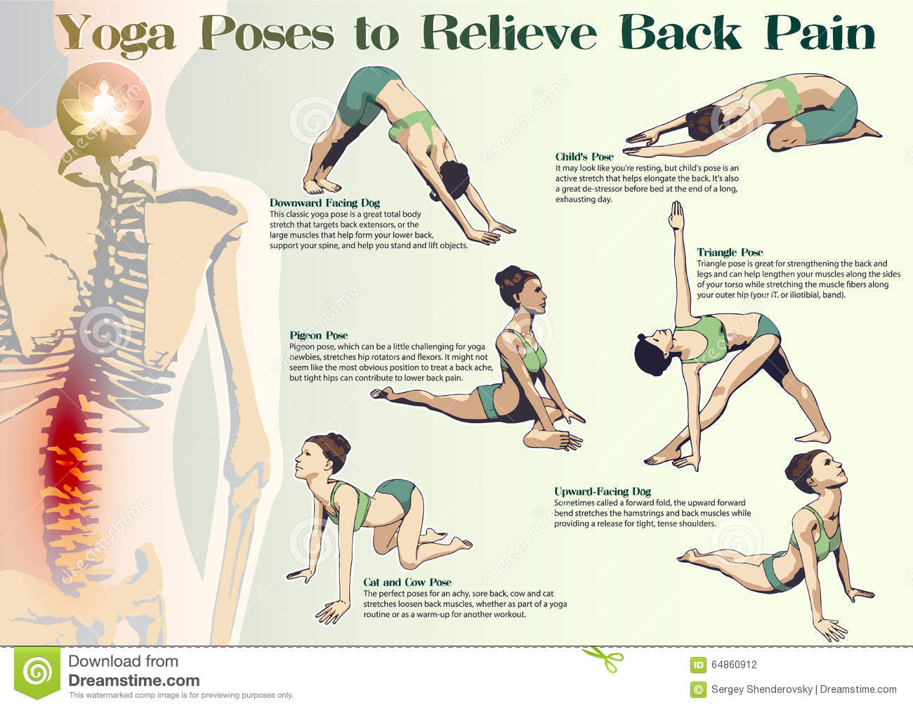 Yoga Poses To Relieve Back Pain Stock Vector - Image: 64860912
