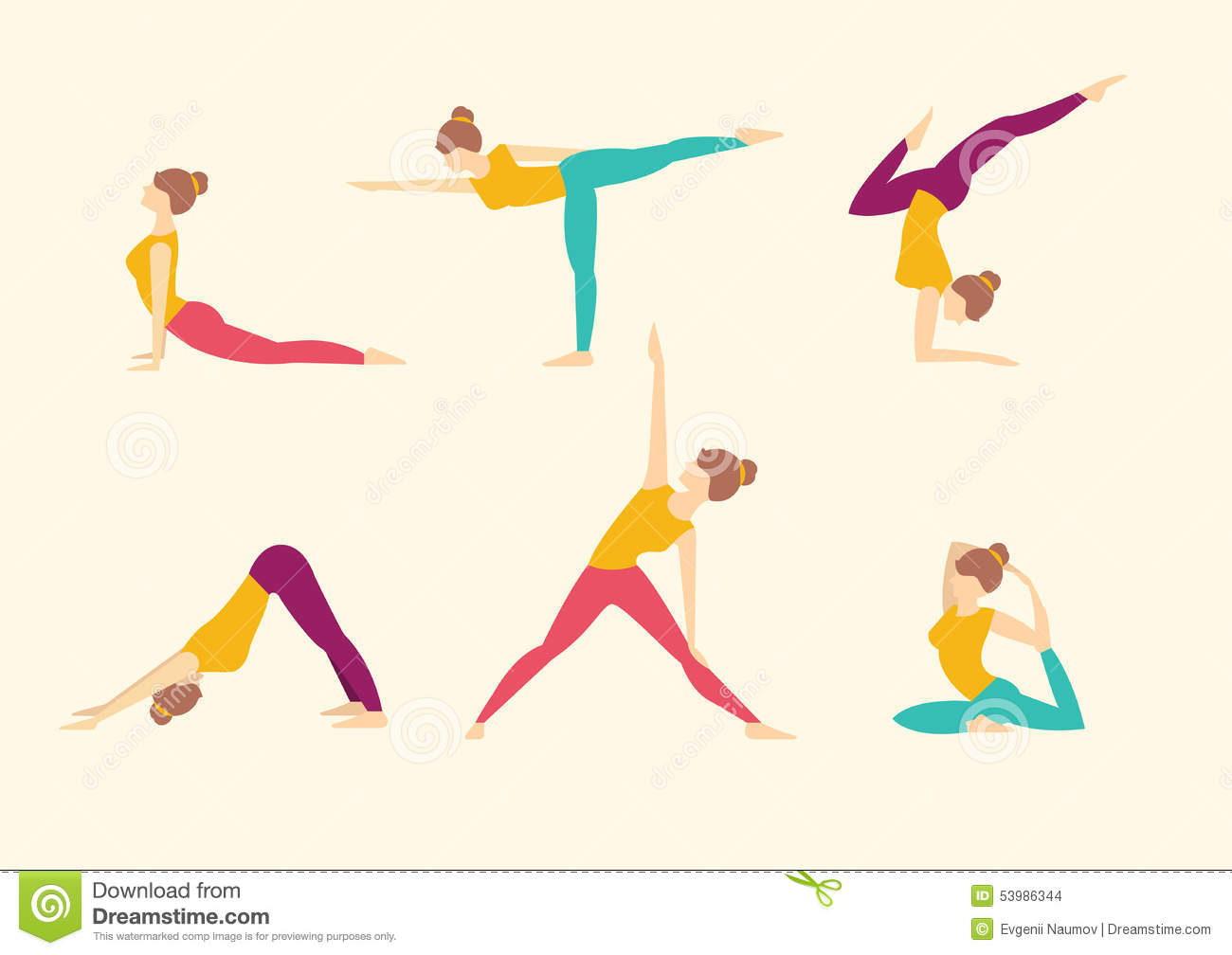 Yoga Poses. Vector Illustration Stock Vector - Image: 53986344