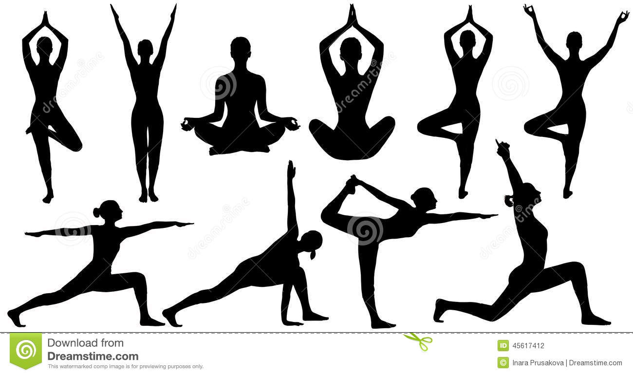 Download Yoga Poses Woman Silhouette Isolated Over White Background Stock Illustration