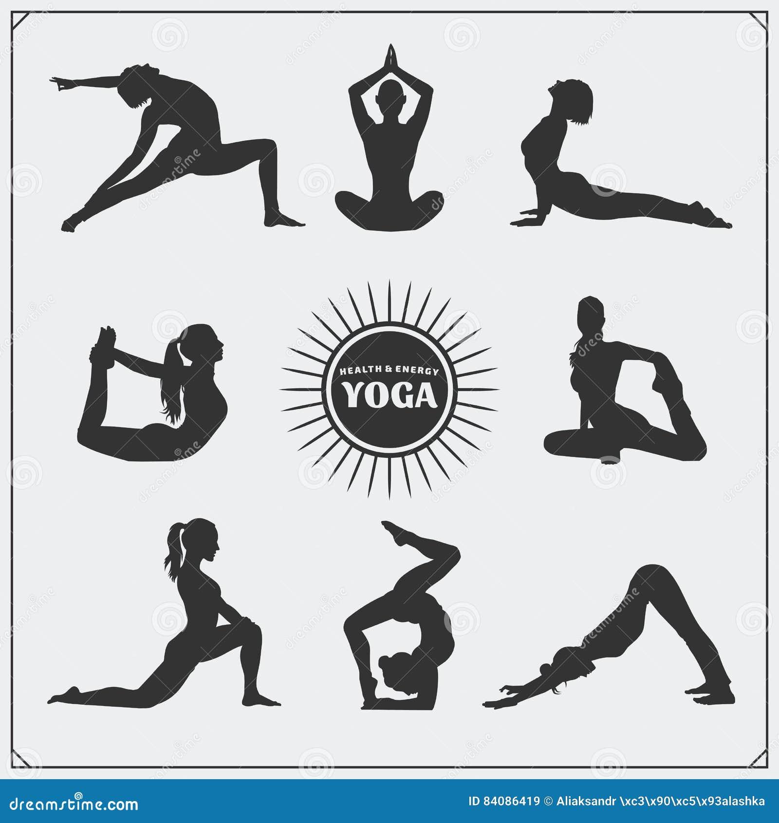 Yoga poses and yoga logo
