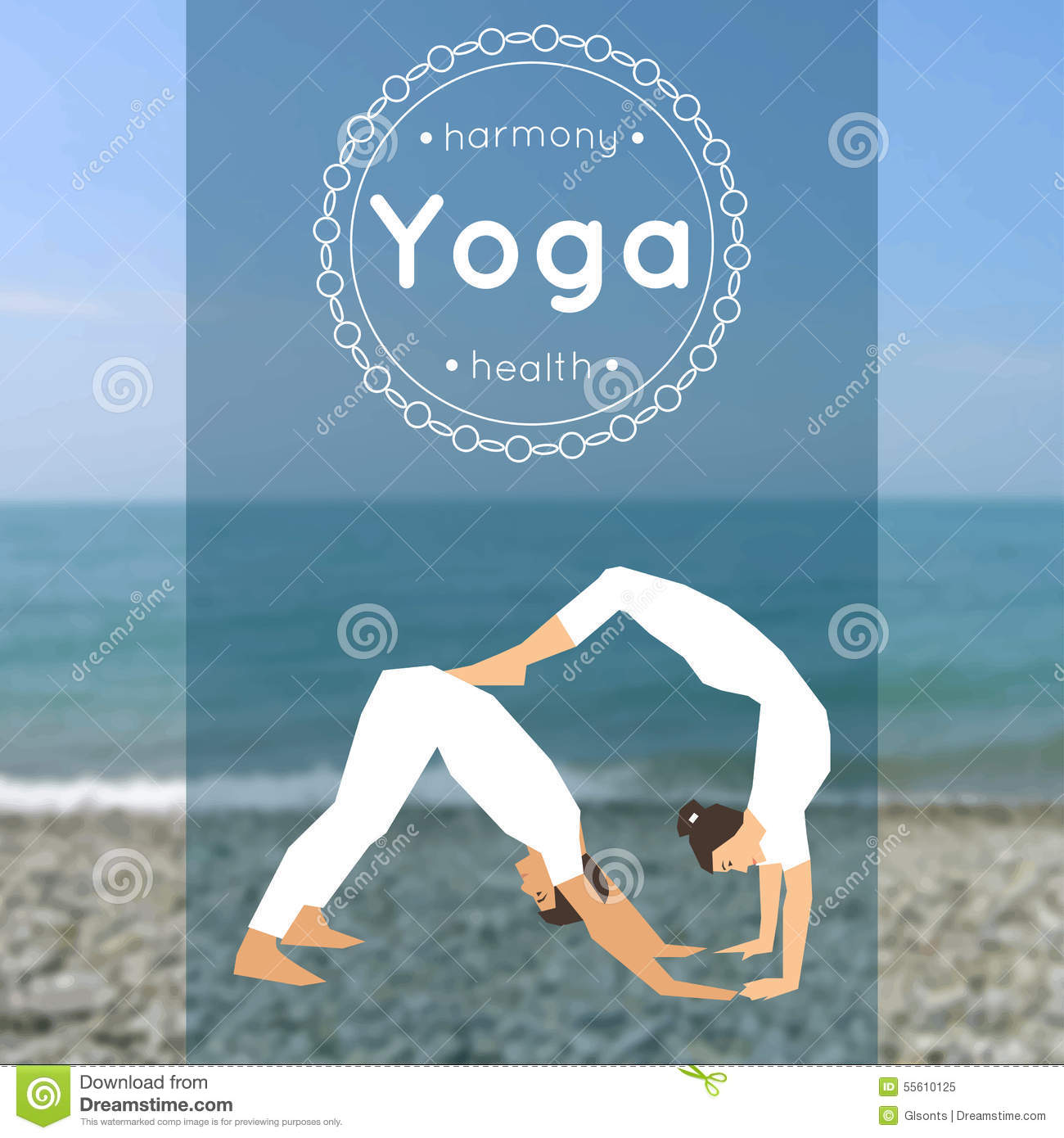Yoga Poster With Couple Of Man And Woman In The Pose Stock