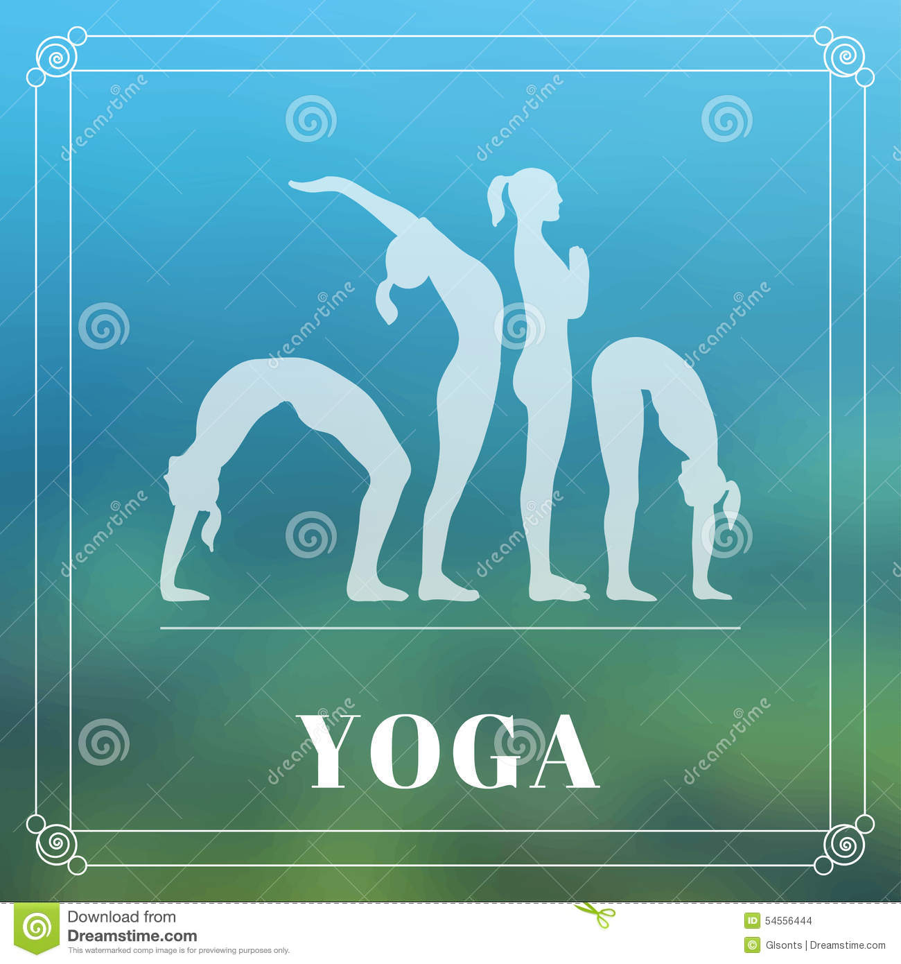 Yoga Poster With Silhouettes Of Women In The Poses On A Photo Blurred Background