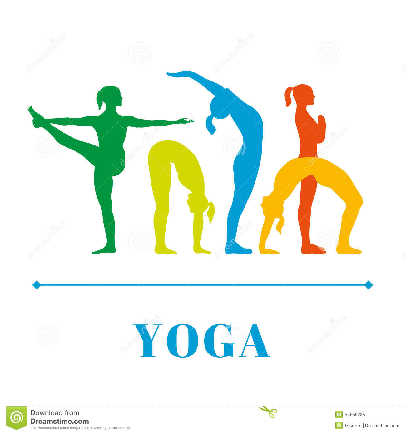 Yoga Poster With Silhouettes Of Women In The Poses On A White Background Illustration 54555235