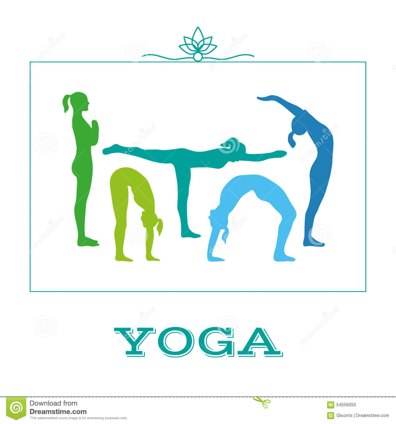 Yoga Poster With Silhouettes Of Women In The Yoga Poses On A White