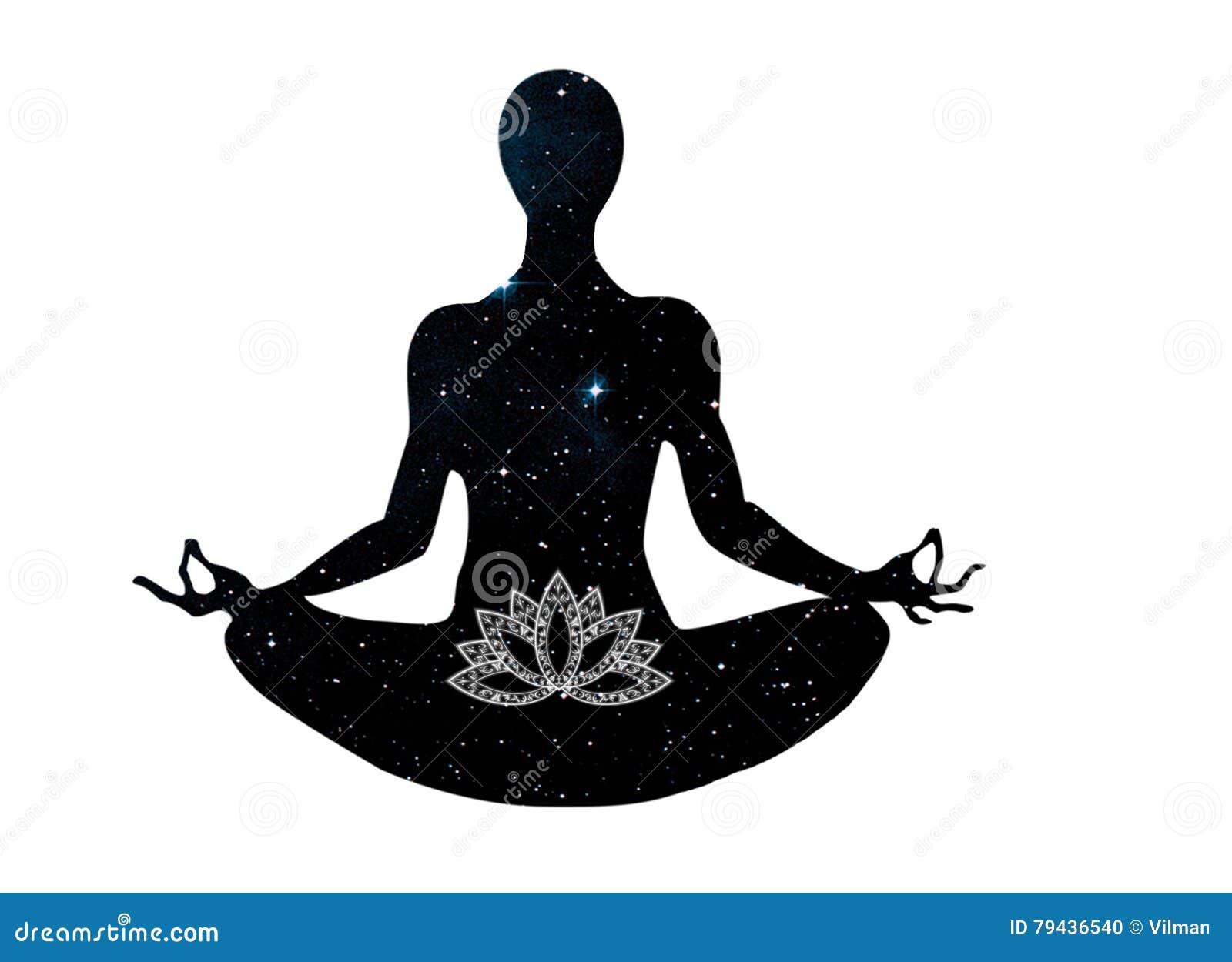 Download Yoga Posture Sitting In Lotus Symbol Stock Illustration