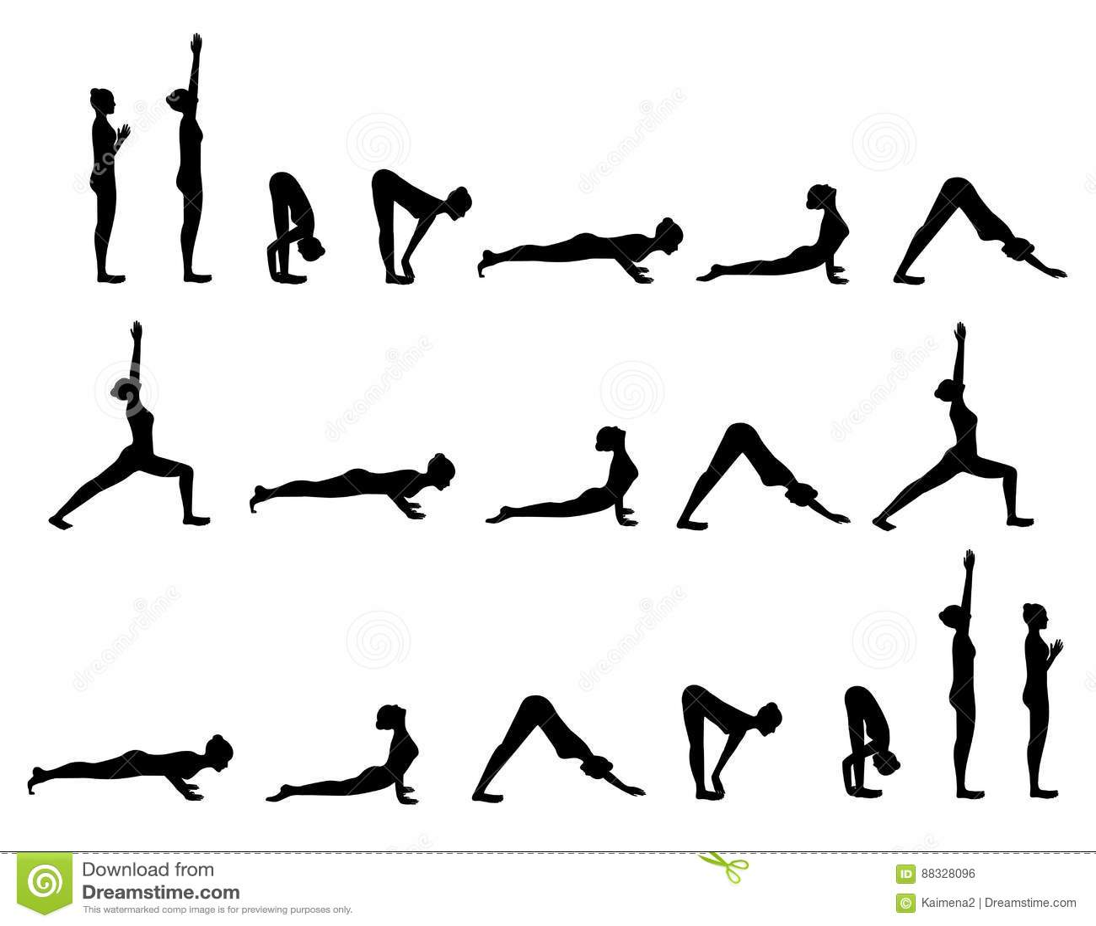 Yoga Postures Sun Salutation Stock Vector