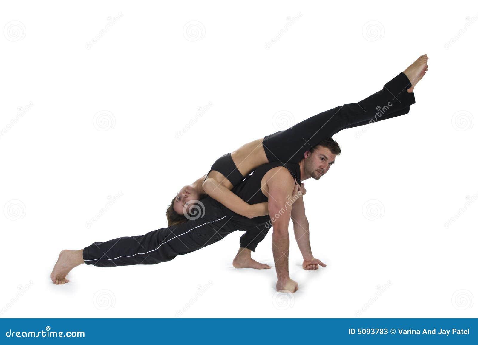 yoga pour deux s rie image stock image du masculin 5093783. Black Bedroom Furniture Sets. Home Design Ideas