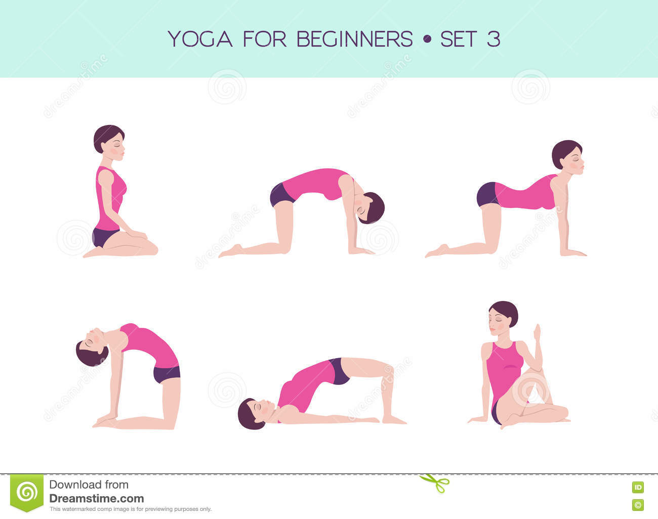 Top Yoga Pour L'ensemble De Base De Débutants Illustration de Vecteur  SY32