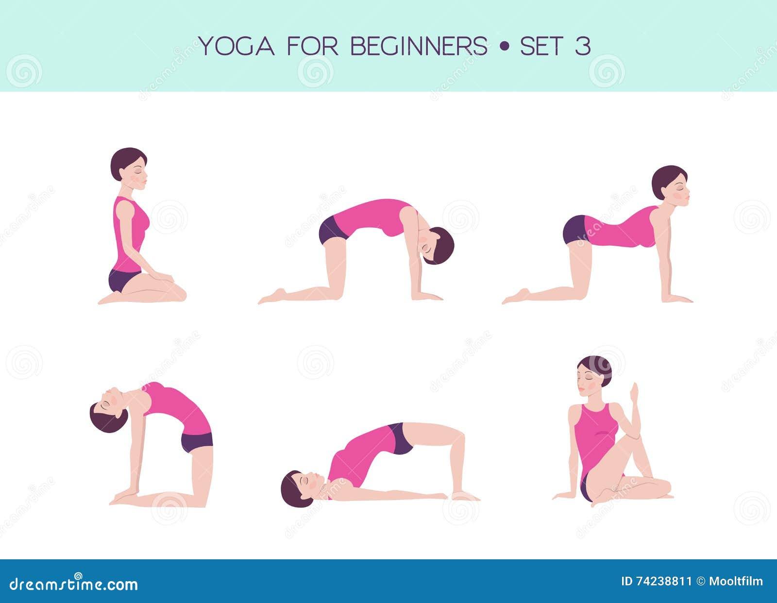 Yoga Pour L'ensemble De Base De Débutants Illustration de ...