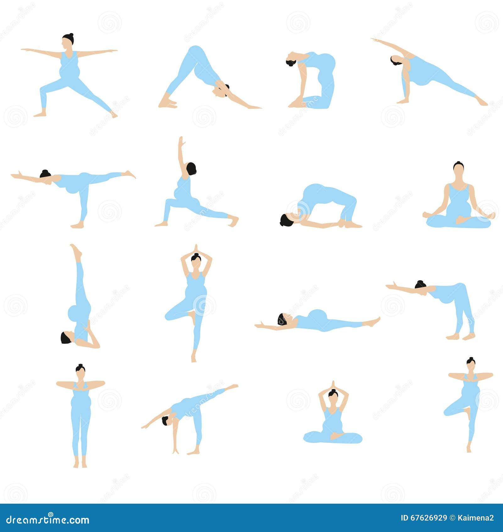 yoga pour l 39 ensemble de vecteur de femmes enceintes femmes enceintes faisant des exercices. Black Bedroom Furniture Sets. Home Design Ideas