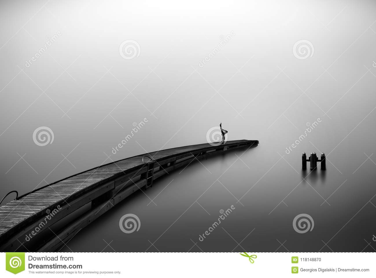 Yoga Practice In Black And White Photography Stock Photo