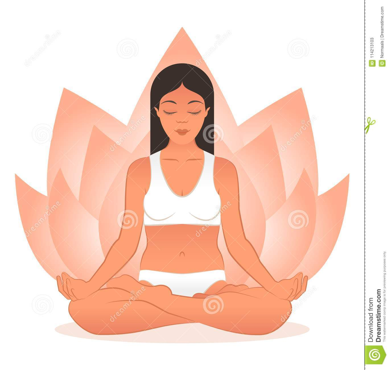 Yoga Practice Concept With Female Meditating In Lotus Pose And Lotus