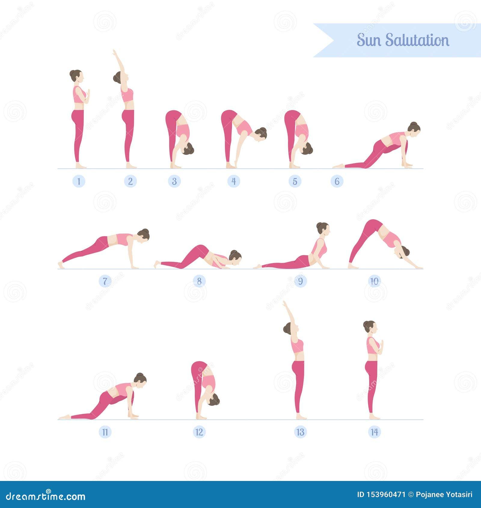 Yoga Practice Set Steps To Sun Salutations Or Surya Namaskar Stock Vector Illustration Of Activity Flexibility 153960471