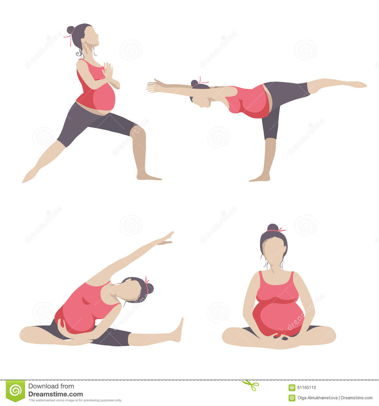 Yoga For Pregnant Women Stock Vector