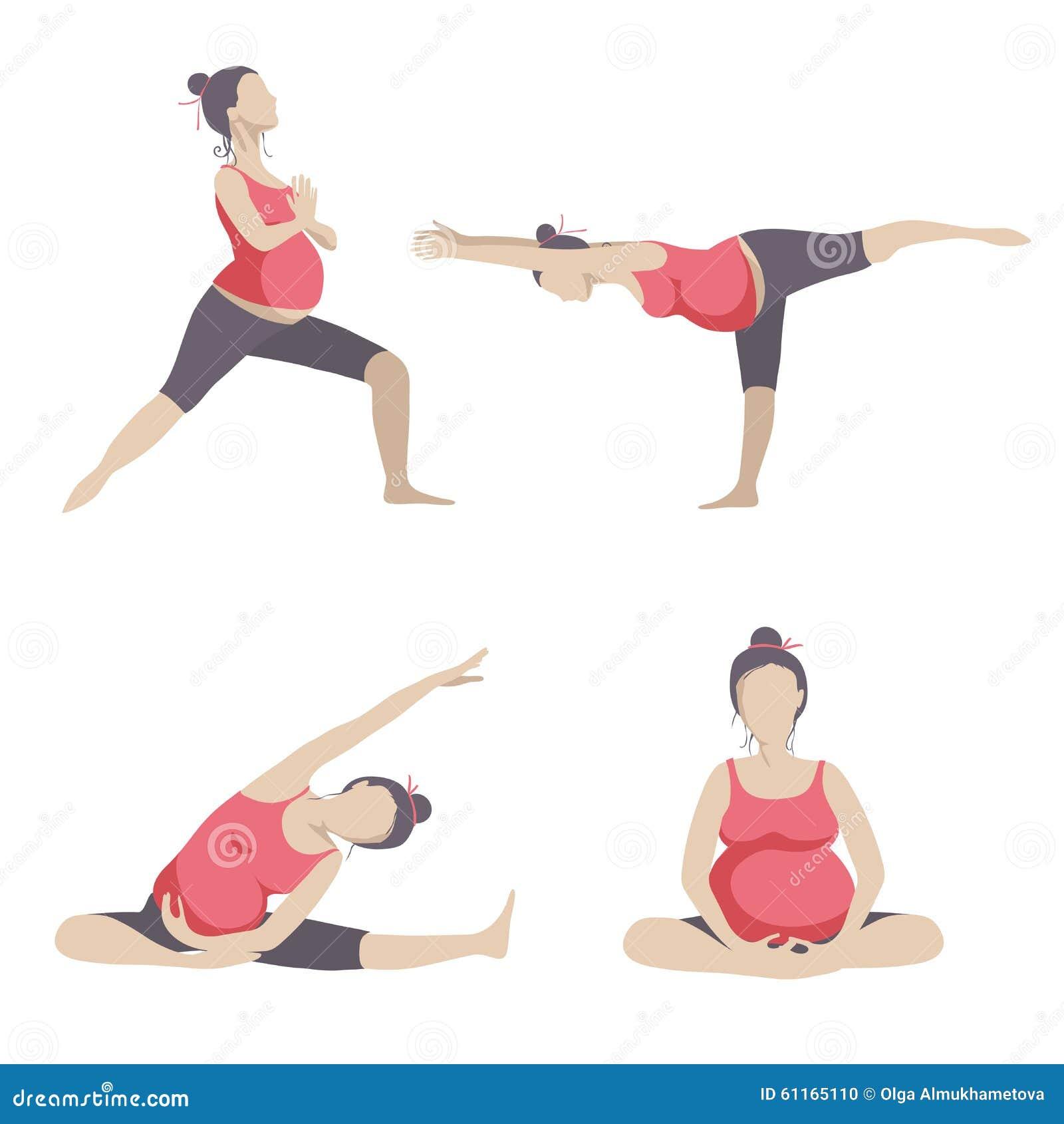 Yoga For Pregnant Women Stock Vector