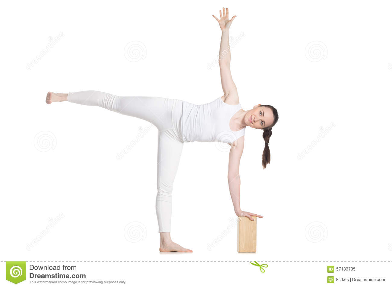 Yoga With Props Pose Ardha Chandrasana Stock Image