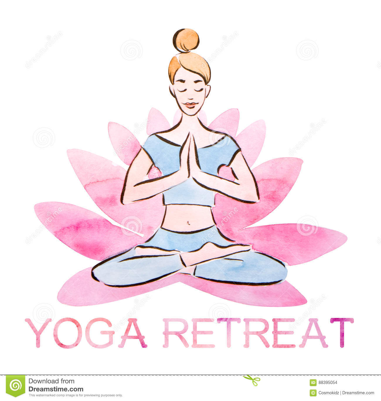 Yoga Retreat Poster Pretty Young Girl Practicing Lotus Pose In A