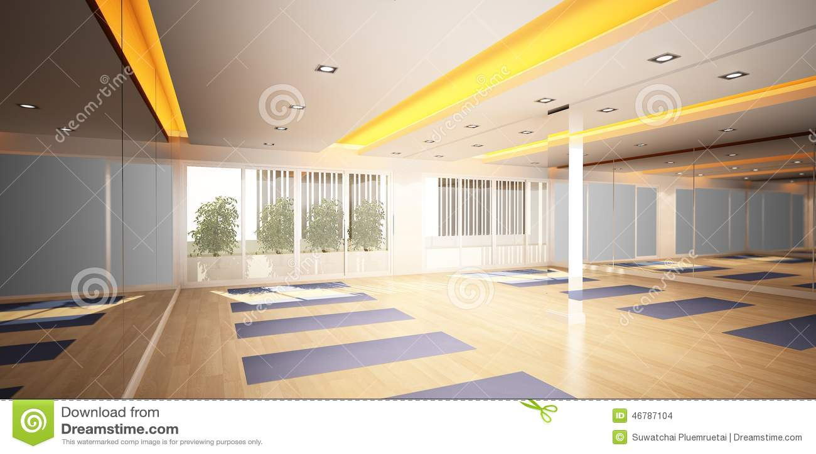Yoga Room 3d Interior Design Stock Illustration Image 46787104