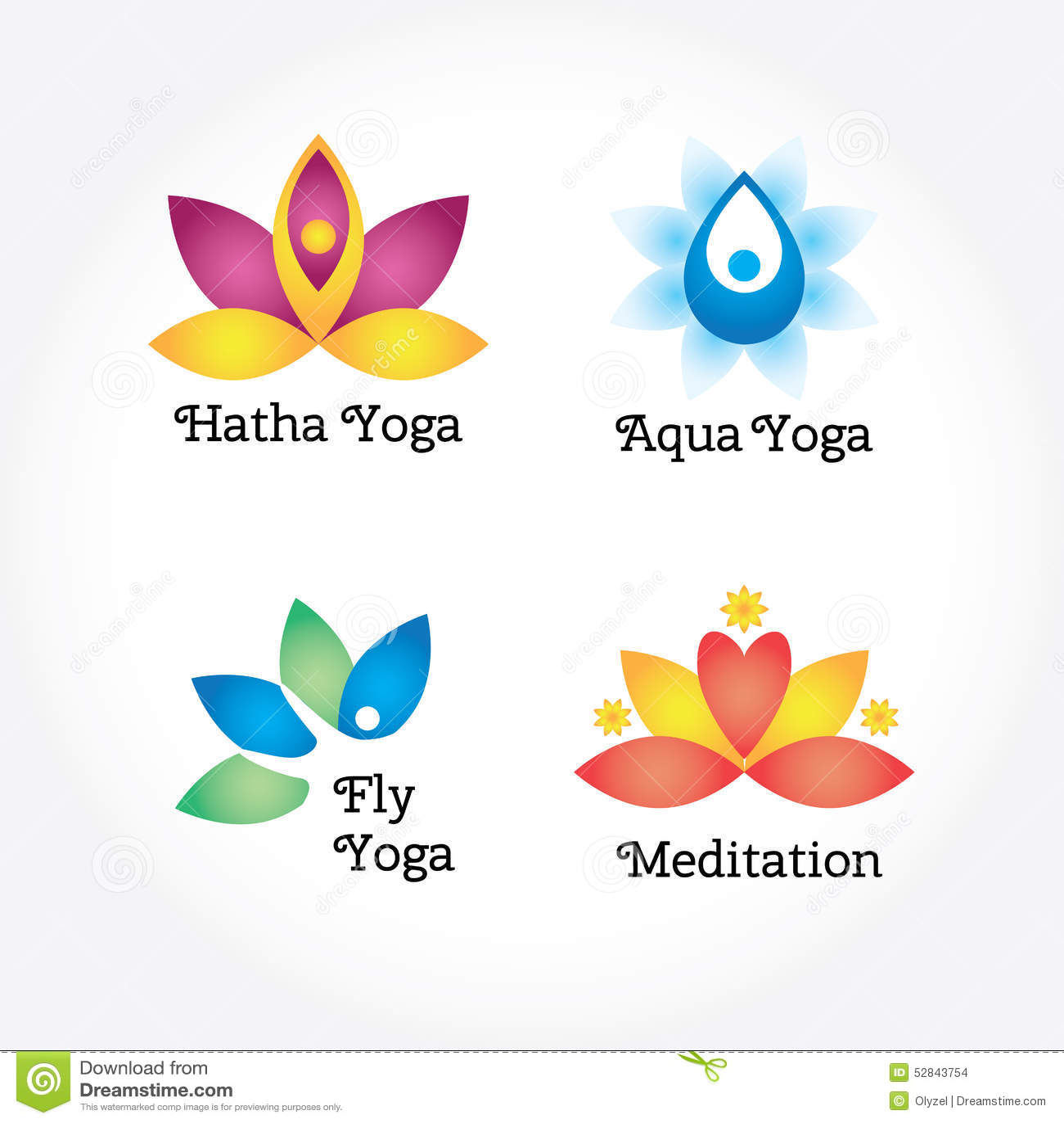 Yoga Signs Set, Hatha, Aqua, Fly, Meditation. Flowers And Body ...