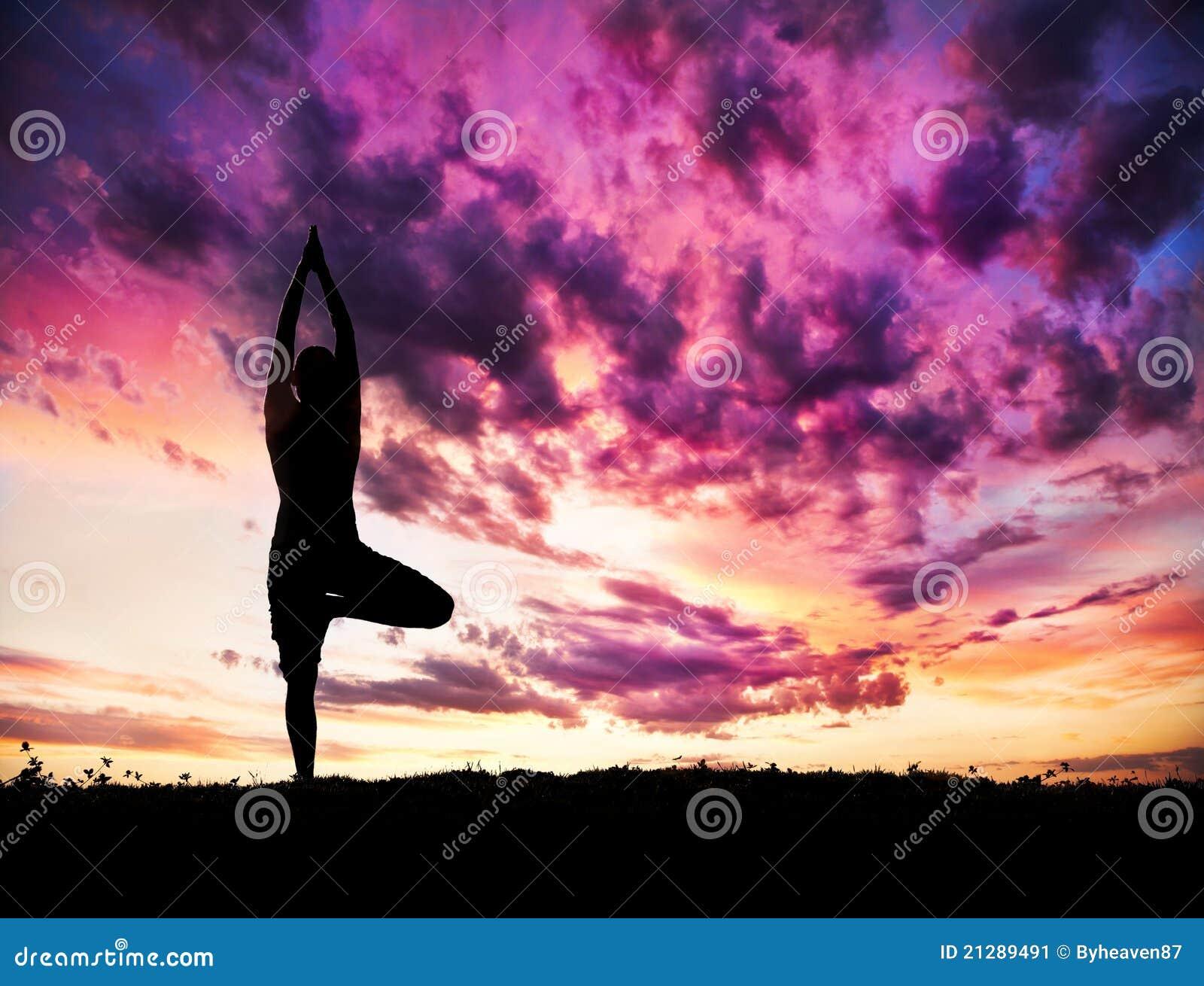 Yoga silhouette tree pose