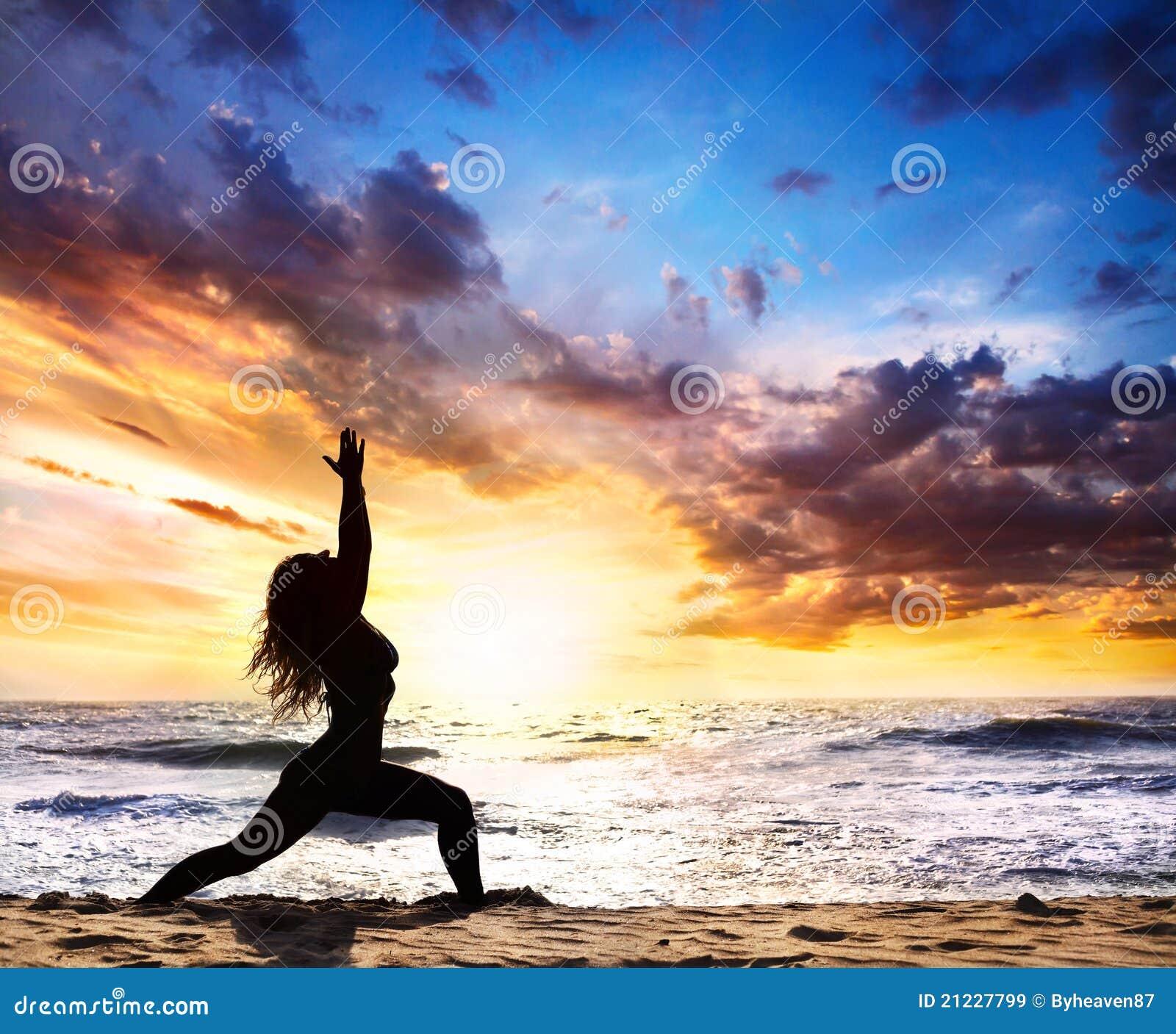 Woman With Beautiful Body In Bikini At Beach Stock Image: Yoga Silhouette Warrior Pose Stock Image