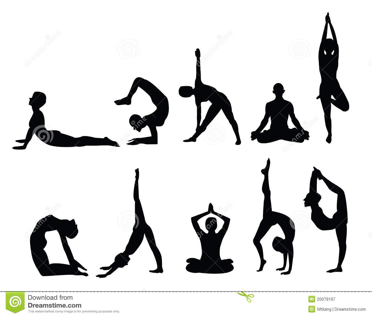 picture relating to Bikram Yoga Poses Chart Printable referred to as Yoga silhouettes inventory vector. Case in point of products