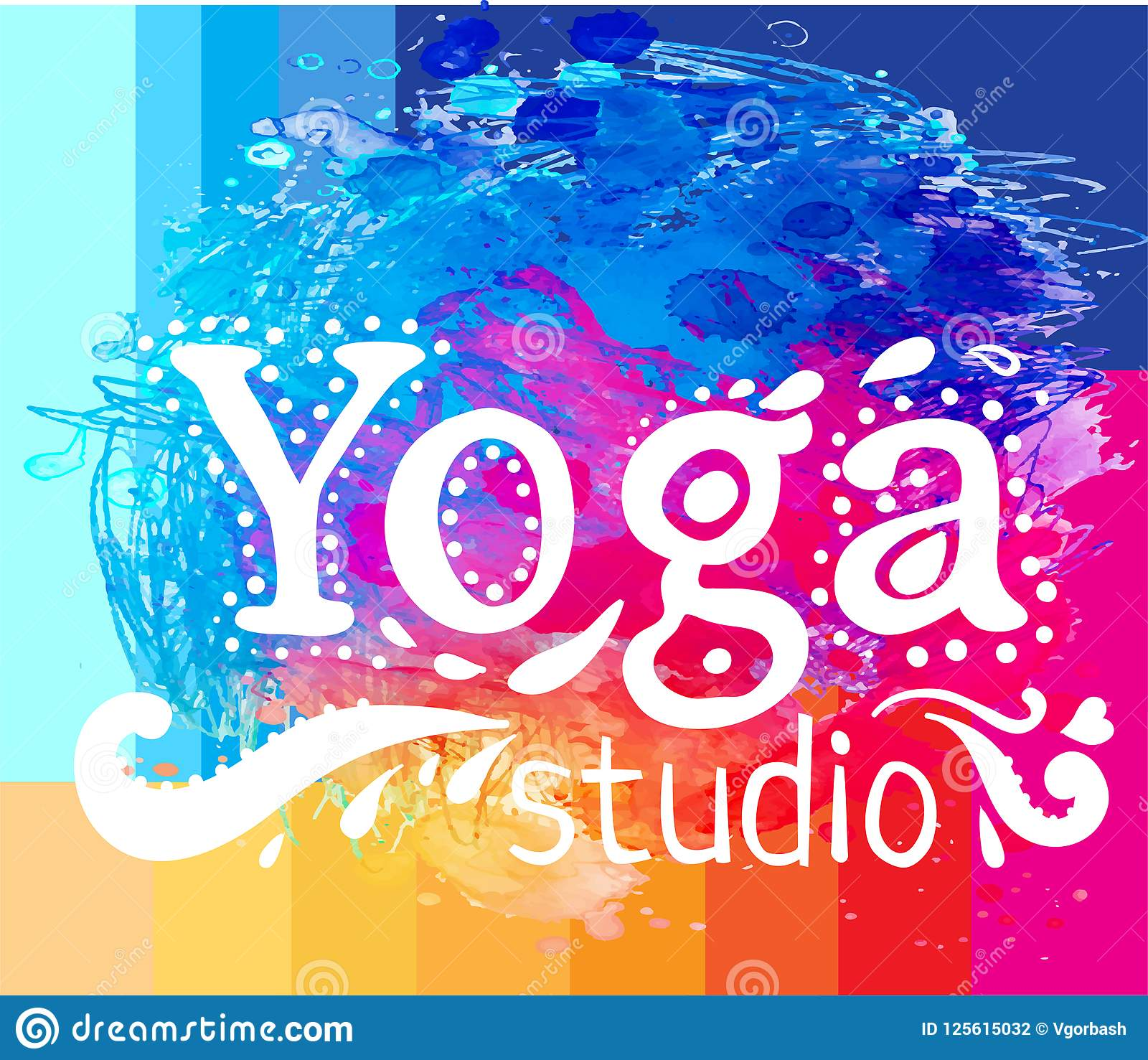 Yoga Studio Design Template Over Colorful Watercolor Background Stock Vector Illustration Of Sign Meditation 125615032