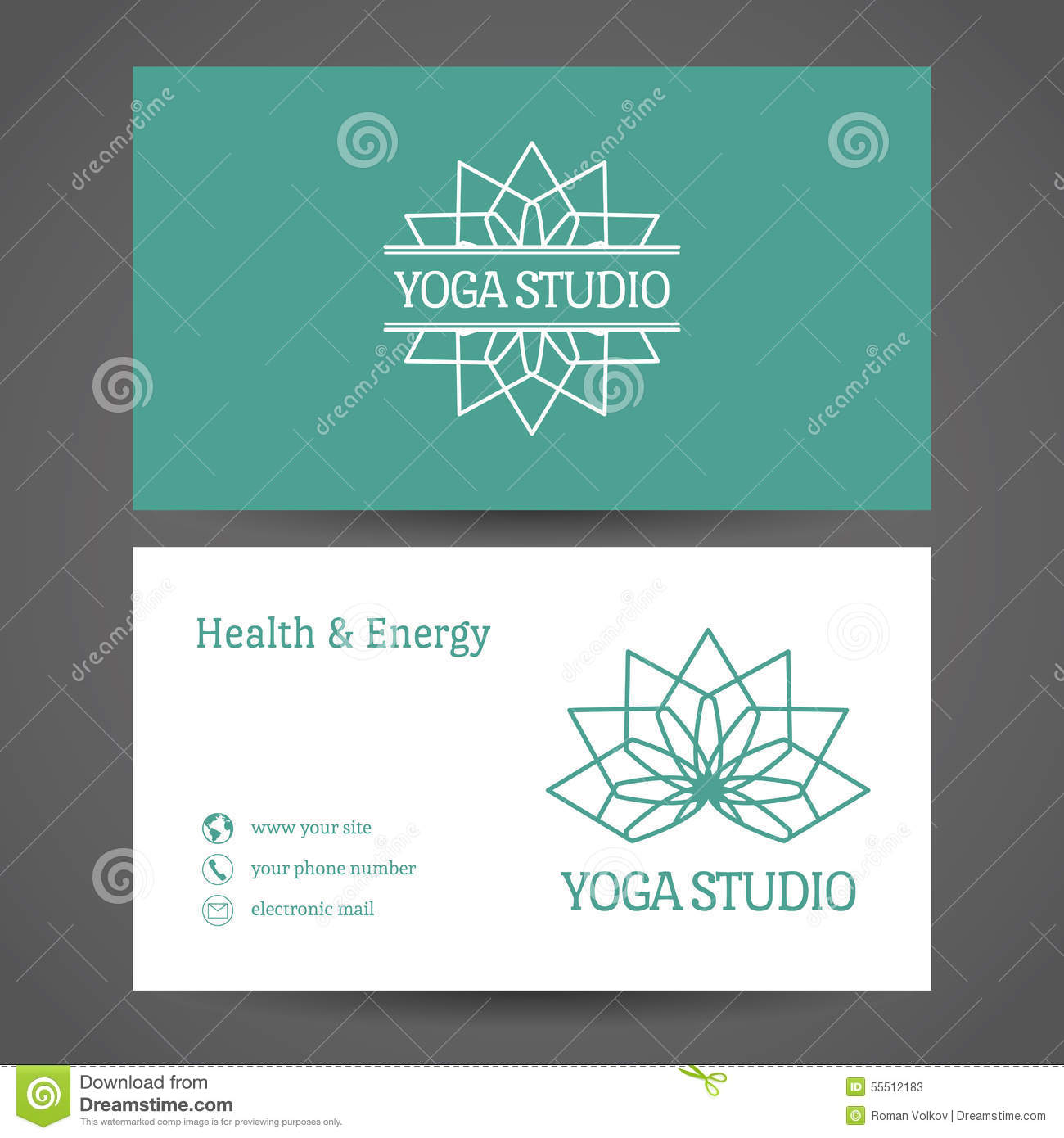Yoga Studio Vector Business Card Template Stock Vector Image - Front and back business card template