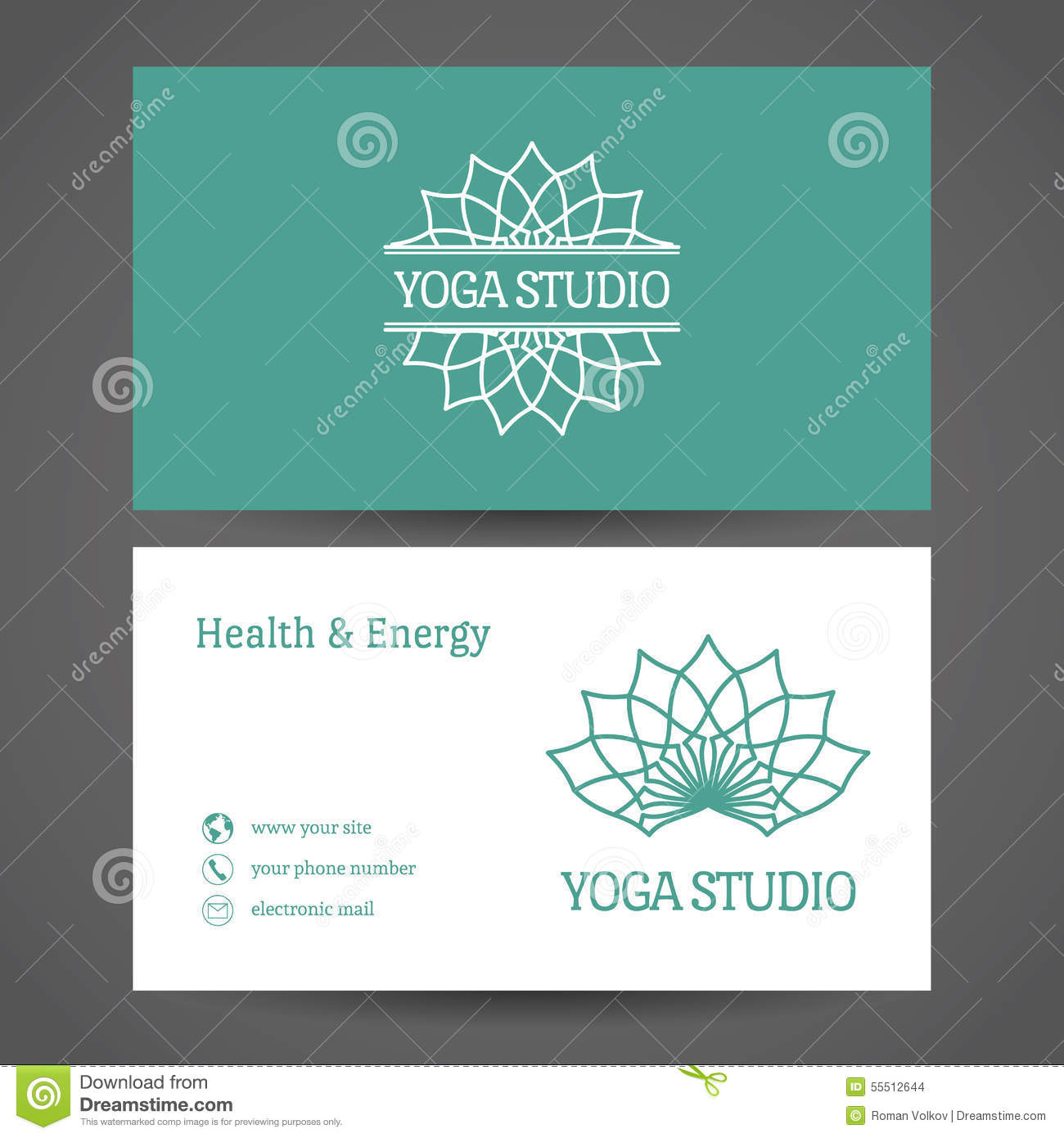 Yoga Studio Vector Business Card Template Stock Vector