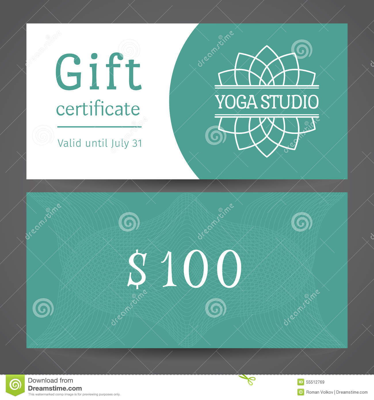yoga studio vector gift certificate template stock vector