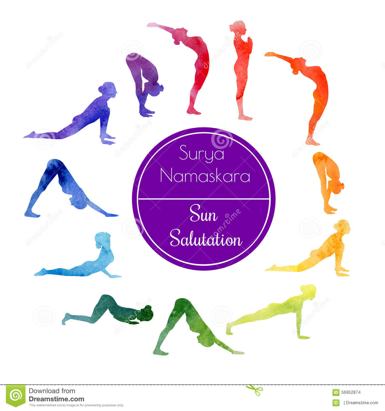 Yoga sun salutation illustration 56952874 megapixl kristyandbryce Images