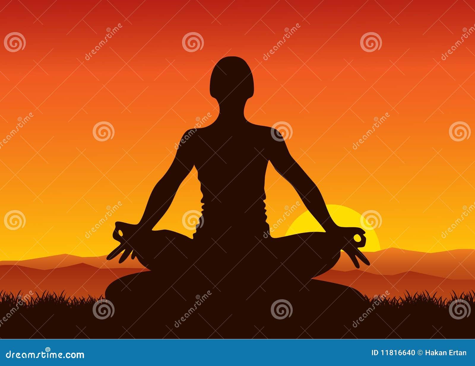 Yoga sur le coucher du soleil