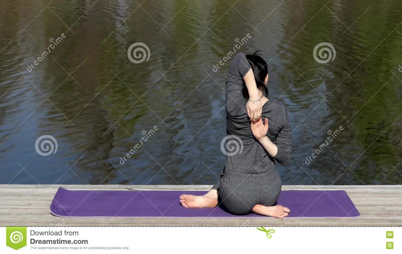Yoga Teacher Make A Cow Pose Near Water Stock Footage Video Of Mind Model 72364448