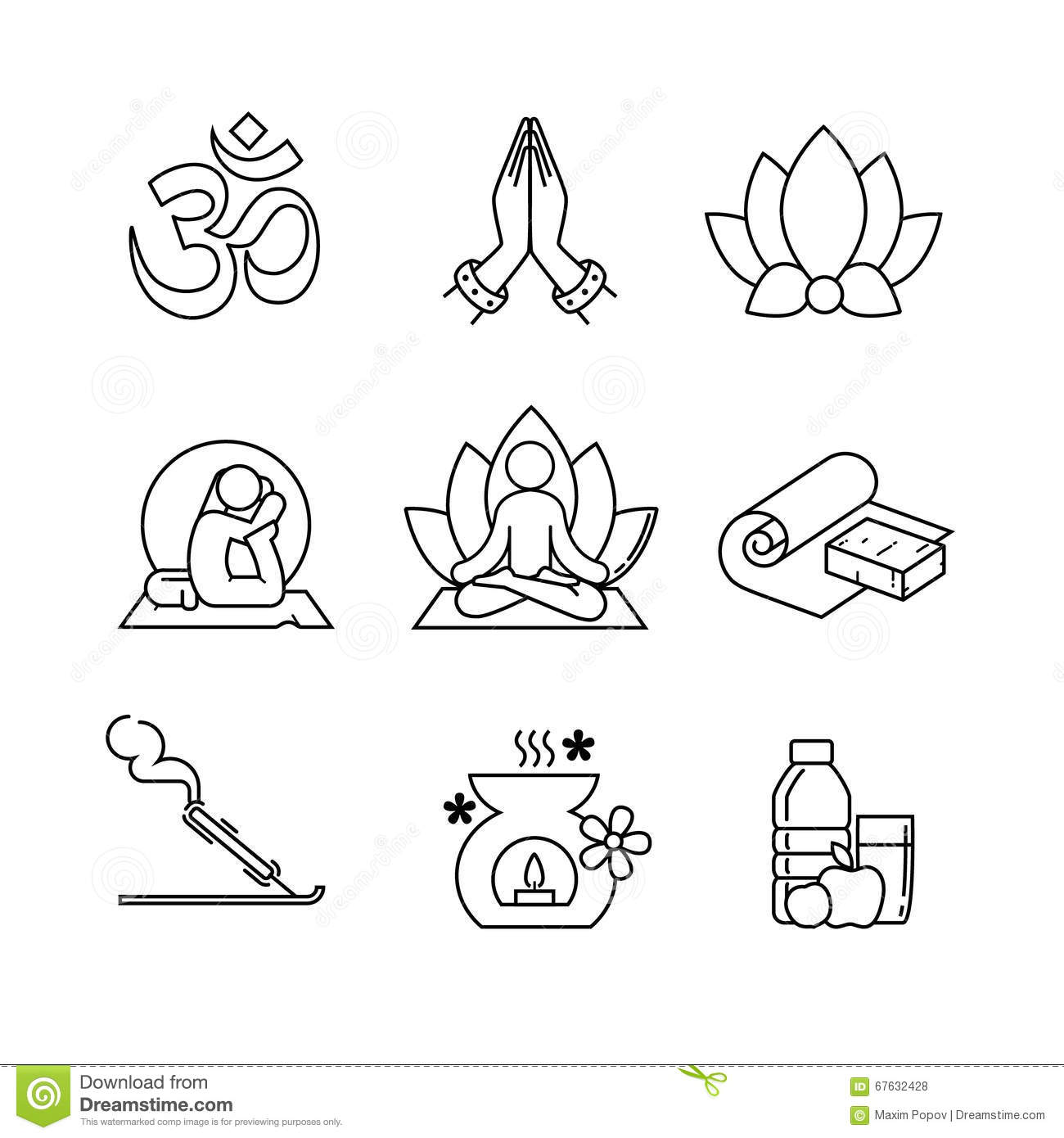 Line Art Yoga : Yoga thin line art icons set stock vector illustration