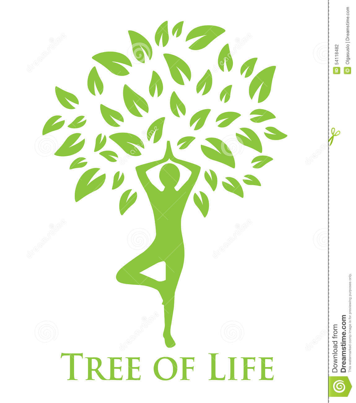 Tree with green leaves and a silhouette of a man doing yoga.