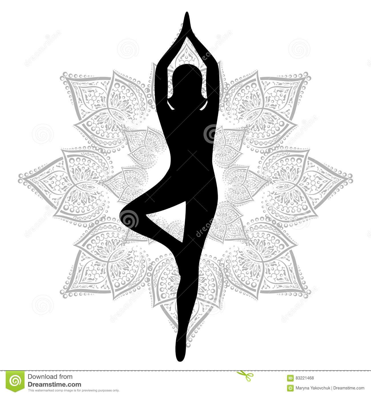 Line Drawing Yoga Pose : Yoga tree pose flower stock vector illustration of