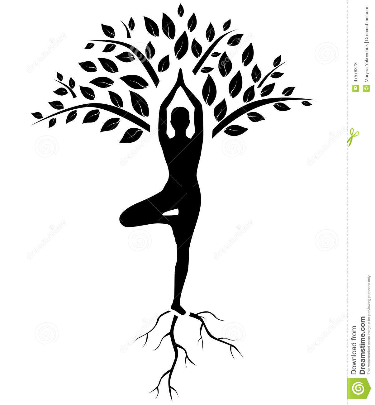 Download Yoga Tree Pose Silhouette Stock Vector Illustration Of Growth
