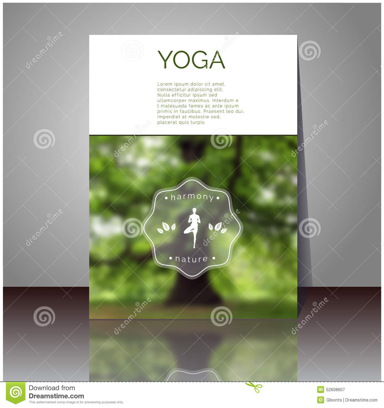 Yoga Vector Poster Cover Design With Blurred Photo Your Text