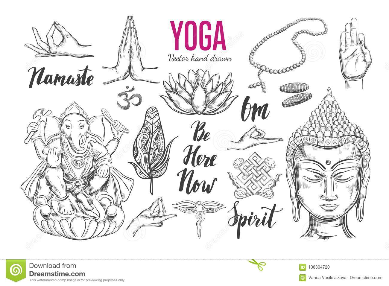 Yoga Vector Set Stock Vector Illustration Of Asia Feather 108304720