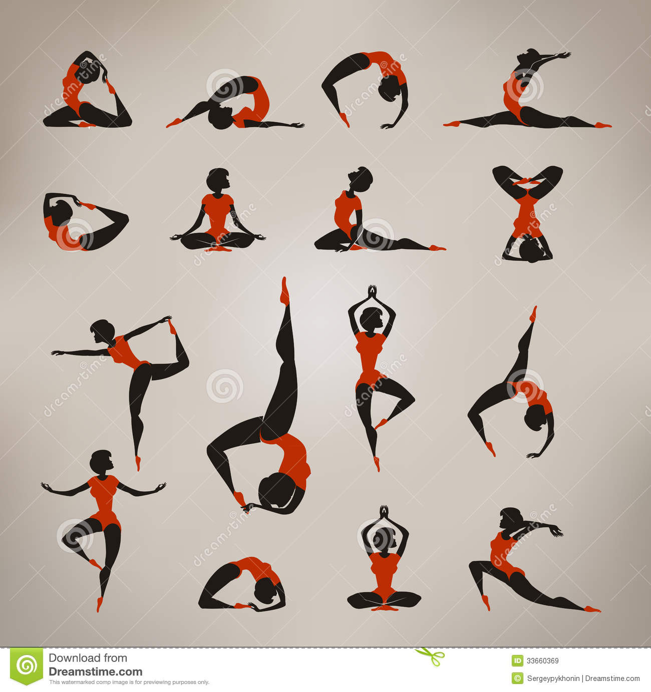 Yoga. Vintage Icons Royalty Free Stock Images - Image: 33660369