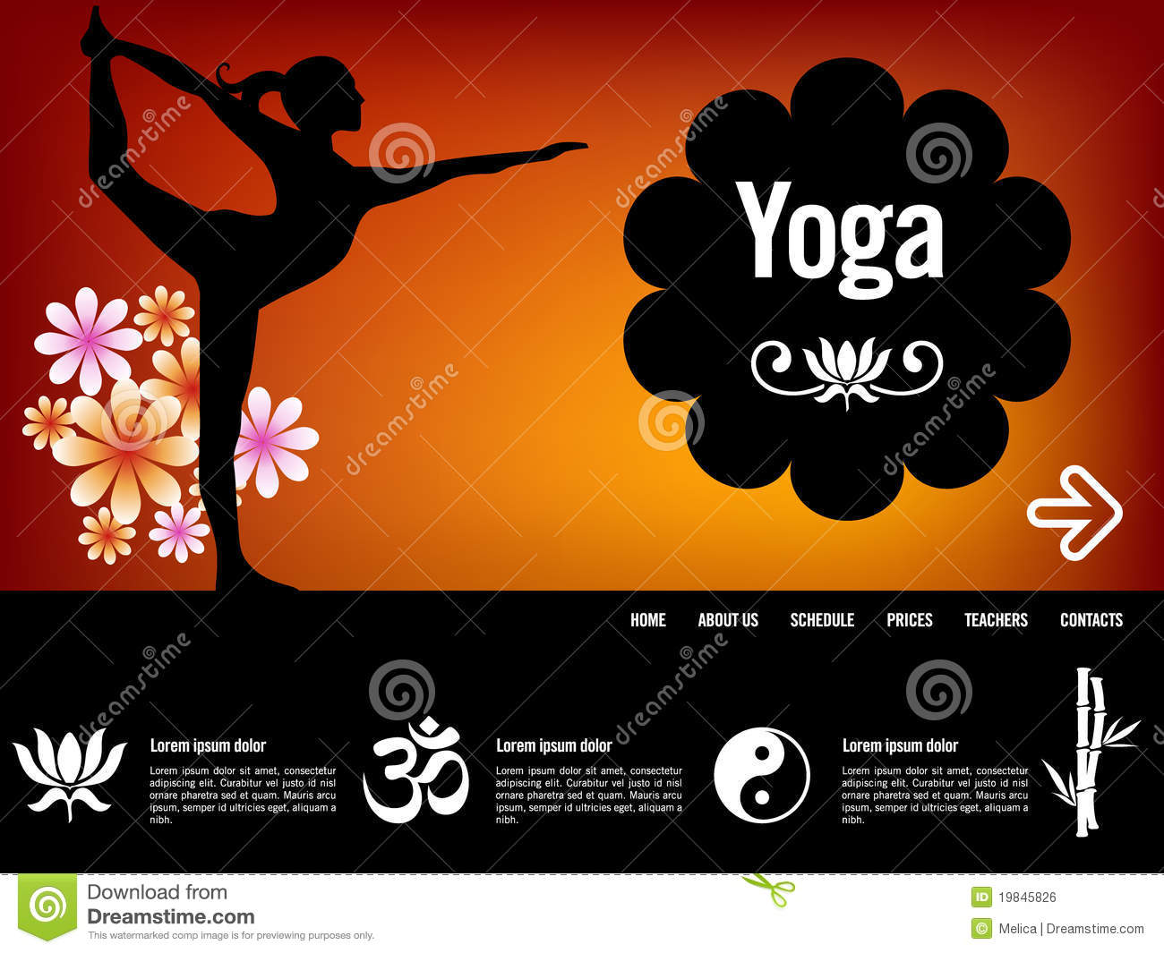 yoga website template stock vector illustration of flower 19845826