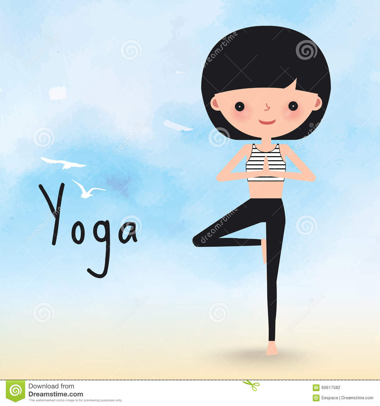 Yoga Woman On The Beach Cartoon Stock Vector Image 60617582