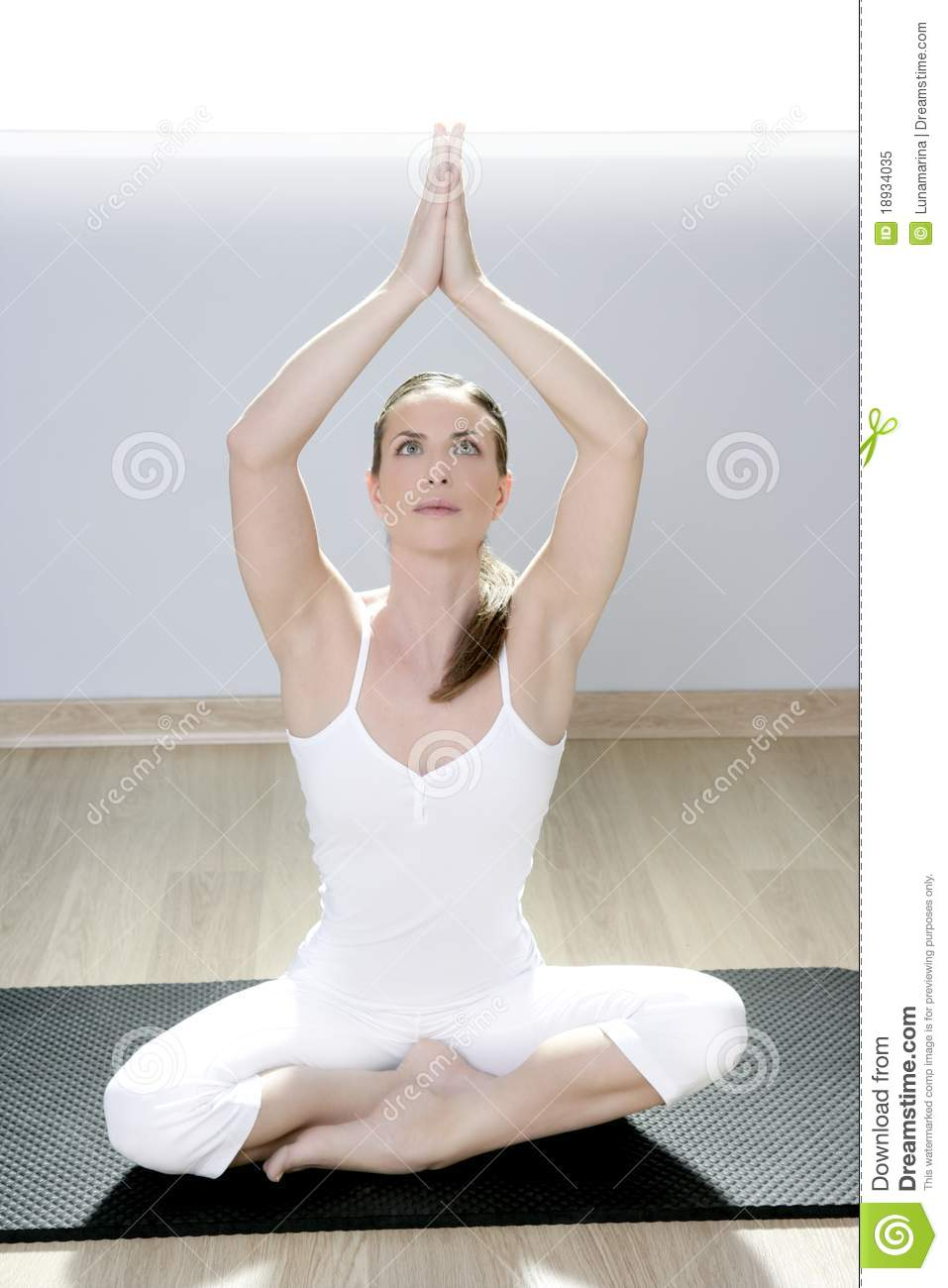 Yoga Woman Fitness Girl In White Meditation At Gym Stock